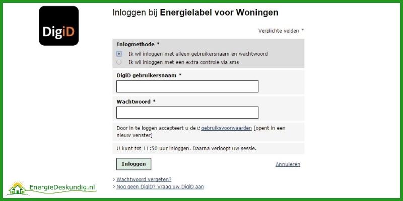 Energielabel aanvragen: Door in te loggen met je DigiD en wachtwoord krijg je als huiseigenaar toegang tot de beschermde omgeving om je definitieve woning energielabel aanvraag te doen.