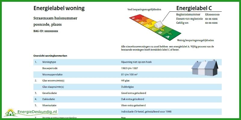 Energielabel aanvragen, voorbeeld definitief energielabel