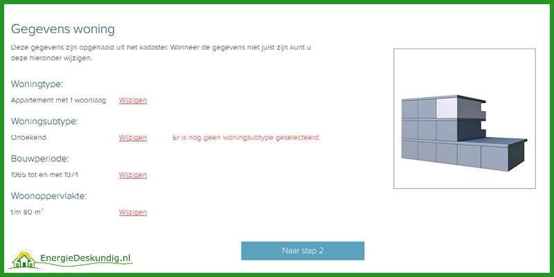 Energielabel aanvragen, Woning subtype in het scherm met het overzicht van de woninggegevens