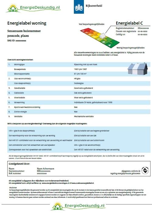 Voorbeeld van een definitief energielabel voor je woning.