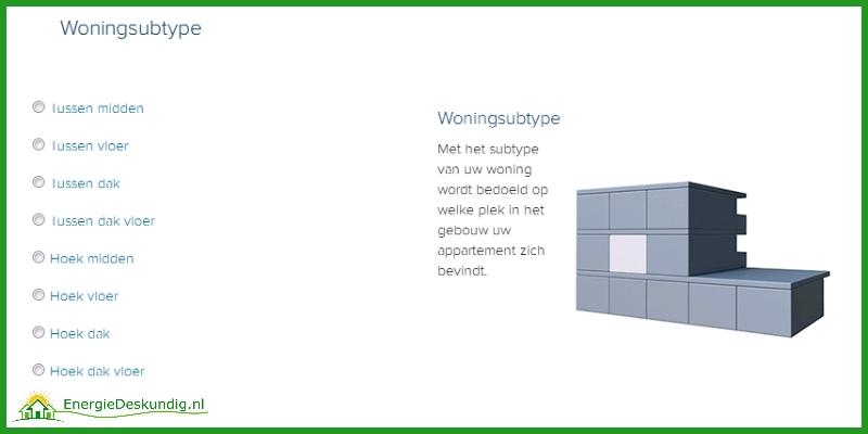 Energielabel voor woningen, woning sub type