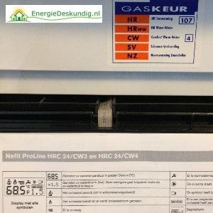 Verwarmingstoestel typeplaatje